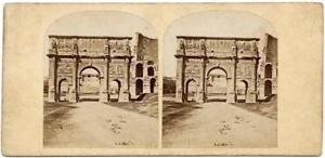 Rome Early French stereoview Arco di Costantino Stereo card Roma 1860c S153