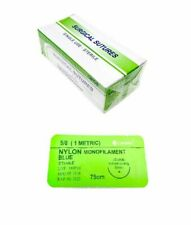 48 Pack 50 Surgical Sutures Nylon Monofilament Braided Sterile With Needle