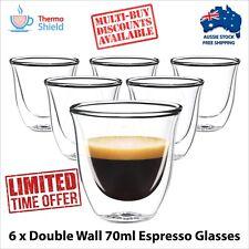 6 x Espresso Glasses Glass Double Wall Dual Coffee Thermo Shield Cup Mug Heat