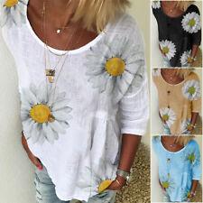 Women Summer Daisy Floral T-shirt Short Sleeve Blouse Casual Loose Basic Tee Top