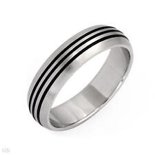 Black Inlay size 11 Stainless Steel Band with