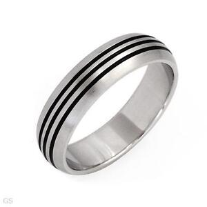 Stainless Steel Band with Black Inlay size 11