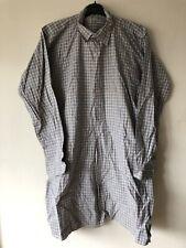 Blue Grey Brown Womens Size L Large Long Sleeve Shirt Dress 1/2 Button Up Summer