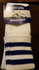 TCK Premier 3-Stripe Soccer Elite Knee High Turn Down Top Mesh Socks White Blue