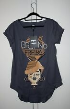 NEW Gryfnie Cotton Short Sleeves Grey Long Print Top Summer Size L