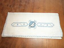 pochette serviette table en LIN  broderie BLEUE CIEL - CREME  - JAMAIS UTILISEE
