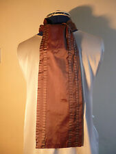 100% silk men's cravat/scarf  Taupe with taupe/brown narrow pleats NEW