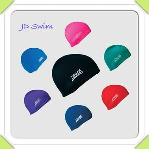 Zoggs Spandex Stretch Fabric Deluxe Swimming Cap Hat  - Many Colours New.