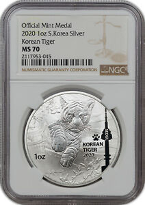 2020 OFFICIAL MINT MEDAL 1OZ S.KOREA SILVER KOREAN TIGER NGC MS 70 FINEST KNOWN!