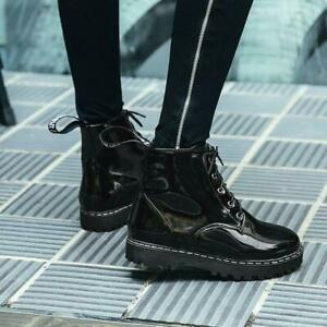 Women Ankle Boots Patent Leather Lace Up Low Heels Round Toe Platform Punk Shoes