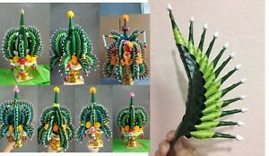 DIY Artificial Thai Rice Offering folded leaf  flower Ornament Handmade conical