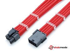6 + 2 Pin pciegpu 30cm Cable De Extensión Shakmods libre de manga rojo con 2 Peines