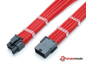 6 + 2 Pin PCIE GPU 30cm Extension Red Sleeved Free cable Combs Shakmods