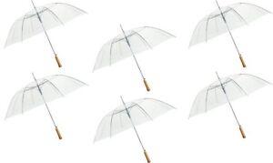 "48"" Auto-Open Clear/Transparent Rain Umbrella, 6 Pack"