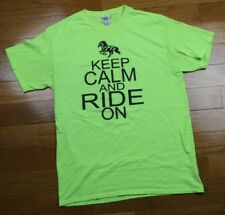 Keep Calm and Ride On Horses Graphic Tee, Men's M T-Shirt, Hi Vis Yellow (19x26)