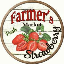 Farmers Market Fresh Strawberries Metal Novelty Round Circular Sign
