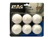 Stag Club-W Plastic Table Tennis Ball 40mm Set Of 6 White