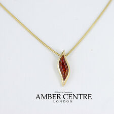 Italian Made Leaf Shaped Cognac Amber Pendant in 9ct Gold-GP0084 RRP£150!!!