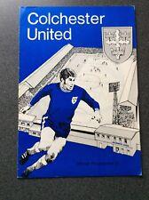 Colchester United v Scunthorpe United programme 1969/70