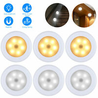 6 LED Motion Sensor Night Light Cordless Battery-Powered 3/6PCS Indoor Home Use