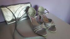 Zapatos De Plata Y Bolso De Mano Set Size 5 Fiesta Boda