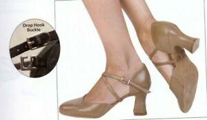 Ballroom Shoes Angelo Luzio crisscross strap Ballroom 105L Black Suede Sole TAN