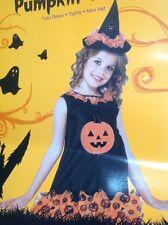 Rubies Halloween Girls Pumpkin Witch Costume Tutu Dress Tights Mini Hat Sm 4-6