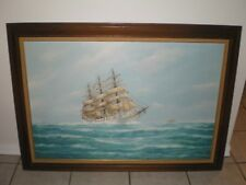 USS Seven Seas Ship Boat 35.5 x 23.5 Seascape Oil on Canvas Painting by J ARNOLD