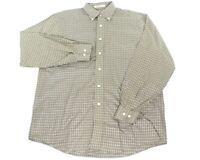 LL Bean Mens Medium Wrinkle Free Windowpane Plaid Long Sleeve Button Down Shirt