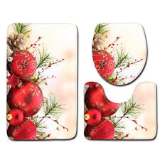 LE 3PCS/Set Christmas Bathroom Non-Slip Soft Rug+Lid Toilet Cover+Bath Mat New