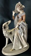 Antique German Art Deco Rosenthal Porcelain Figurine Of Lady With Borzoi