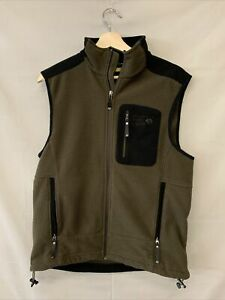 Vintage Men's Medium Zip Up Mountain Hardwear Vest Green Black Polyester