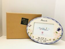 """Russ Natural Expressions Aunt Ceramic Embossed 10""""X15"""" Garden Photo Frame NIB!"""