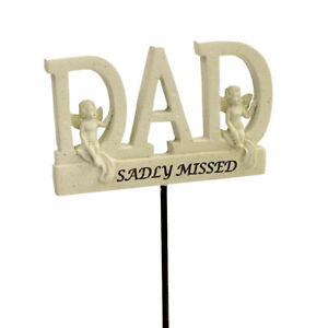 Sadly Missed Dad Angel Memorial Tribute Stick Graveside Plaque