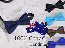 Men 100% Cotton Solid Craft Bow Tie Bowtie Wedding Party BLACK NAVY BLUE Brown