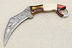 SCK  CUSTOM HAND MADE  DAMASCUS KARAMBIT HUNTING  KNIFE-# F-5543