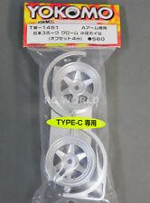 """Yokomo 1/10 RC Car WHEELS RIMS 6 -SPOKE """" Type-C """" 4MM Offset TW-14S1 (2PCS)"""