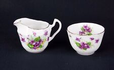 Windsor England White Body Violet Gold Trimmed Sugar Creamer 55021N