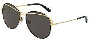 Dolce & Gabbana SLIM DG 2261 Gold/Dark Grey (1334/87) Sunglasses