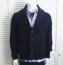 NEW Mens SIZE XXL 2XL ALPACA Navy Blue Ribbed Shawl Collar Cardigan Sweater PERU