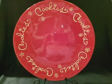 Hallmark Red Christmas Cookies Platter 14.5 Inches With White Snowflakes