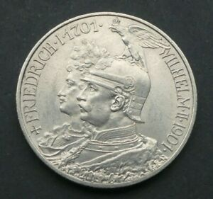 Preussen 2 Mark 1901 Wilhelm II. Friedrich 200 Jahrfeier Silber J105 Kaiserreich
