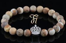 Paysage Jaspe 8mm Bracelet Bracelet Bracelet de Perles Coloris Argent Couronne