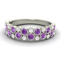 0.91 CT Natürlich Diamant Amethyst Ehering Platinum Braut Ringe Größe M N O P