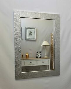 Cassandra Silver Wood Mosaic Wall Mirror Metallic Finish Bevelled Glass 107x76cm