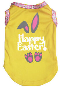 Pink Top T-Shirt Happy Easter Grey Bunny Pet Cat Dog Puppy One Piece Clothes