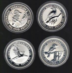 Australien je 1 Unze Silber Kookaburra 1993, 1995, 1996 und 1998 bitte lesen !