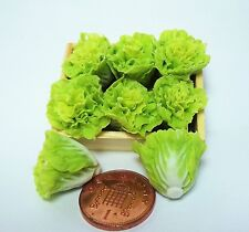 Tray Of 6 Lettuce Dolls House Miniature Kitchen Food Accessory ( 6 )
