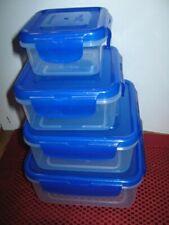 LOCK AND LOCK 4 pc. Square Nesting Bowl Set Royal Blue Sparkle Food Storage Set