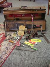Vtg Large Metal Tool Box with Various Woodworking & Other Tools see photos As Is